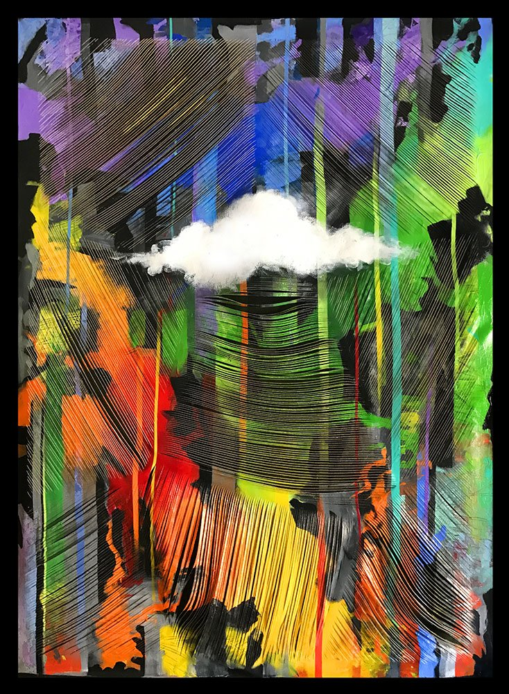 Image of a cloud on an abstract colorful background